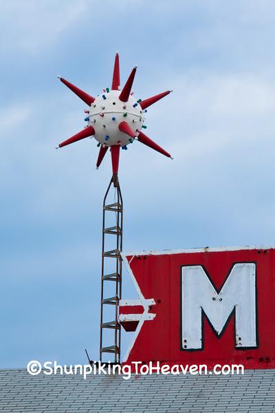Sputnik-Inspired Bel Aire Manor Motel Sign, Springfield, Illinois