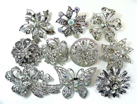 6 Brooches WHOLESALE LOT Clear Bling Rhinestone Silver