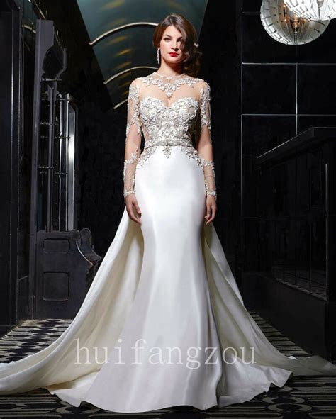 wedding dresses detachable train bridal gowns long sleeves