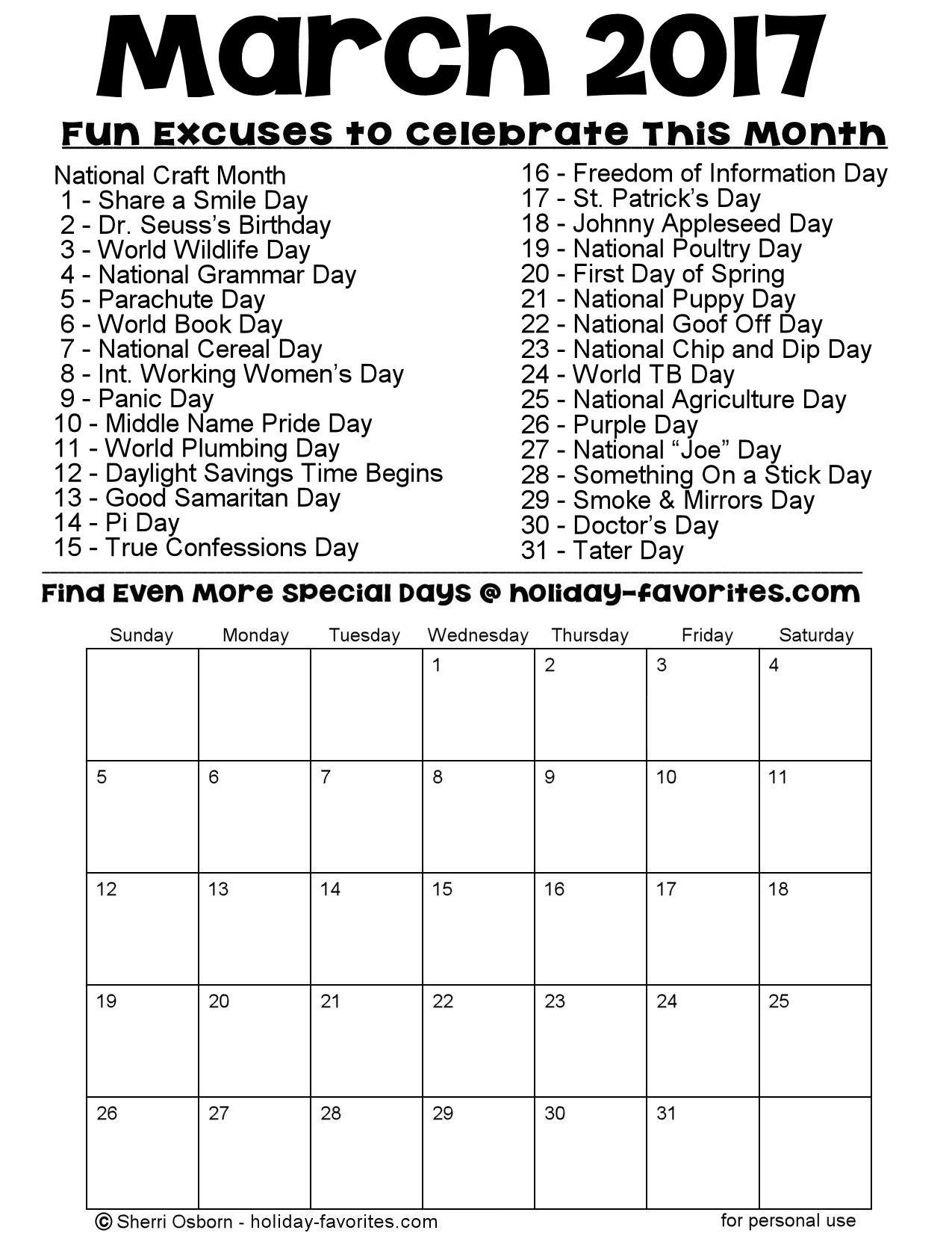 March 2017 Calendar Special Days – 2017 March Calendar