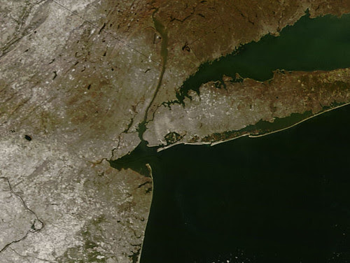 Satellie view of the first snow in the NYC area