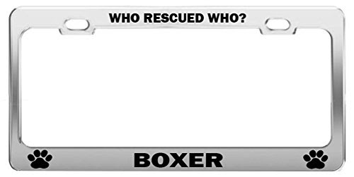 Who Rescued Who Boxer Dog Cat Lover License Plate Frame Auto