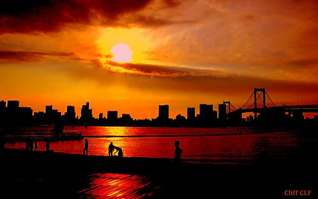 Sunset at Odaiba.