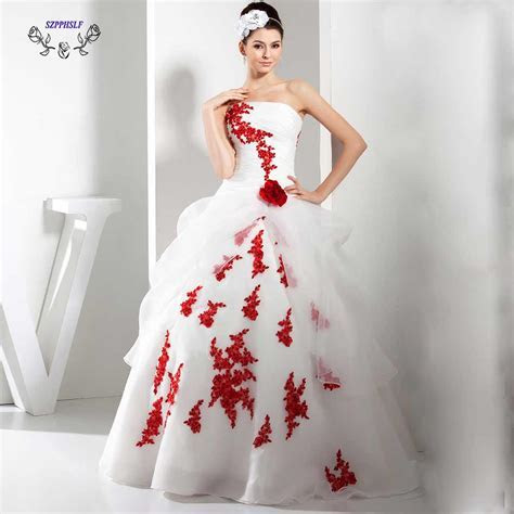 Adorable ball gown white and red Wedding Dress 2017