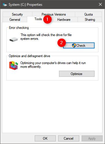 Inicie la comprobación de errores del disco duro en Windows 10