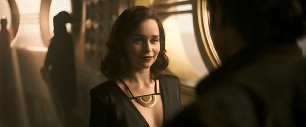 Qi'ra (Emilia Clarke) greets Han Solo after being separated from him for three years in SOLO: A STAR WARS STORY.