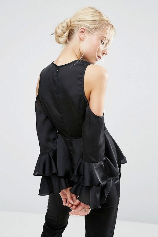 Le Fashion Blog Fall Date Style Blonde Low Bun Black Cold Shoulder Blouse With Ruffled Sleeve Details Trousers Via ASOS