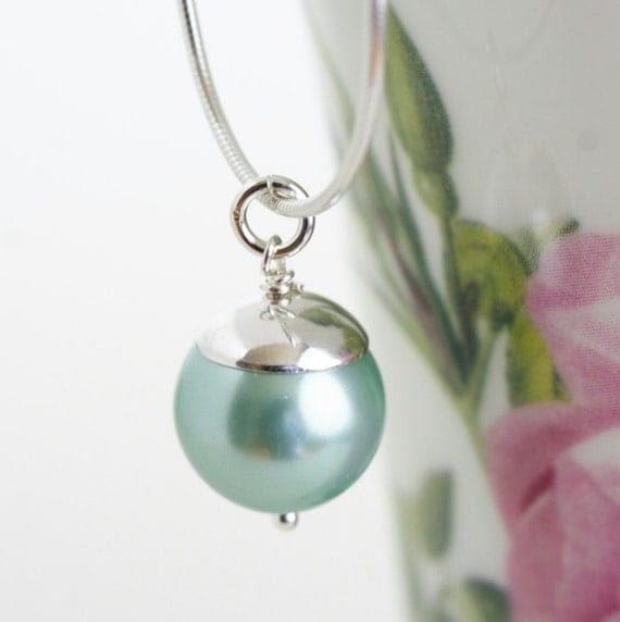 Sea Foam Necklace, Aqua, Sterling Silver Necklace - Stunning Simplicity