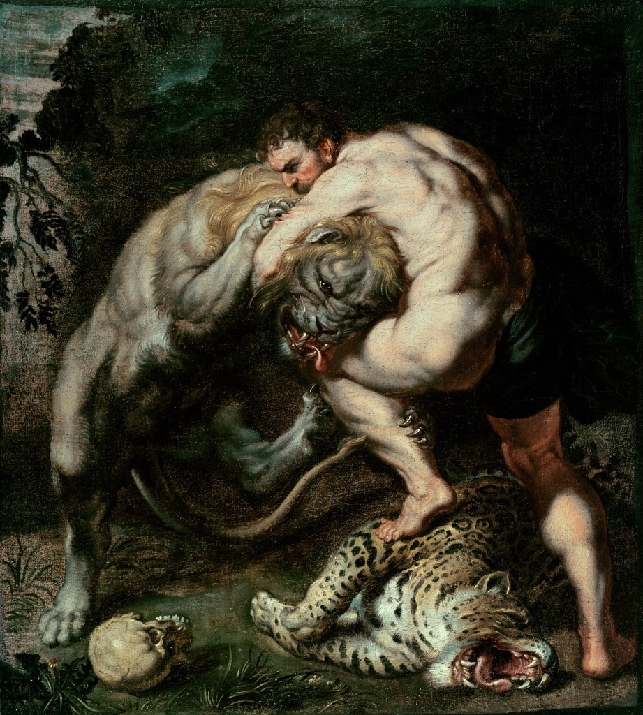 Hercules fighting the Nemean lion - Peter Paul Rubens