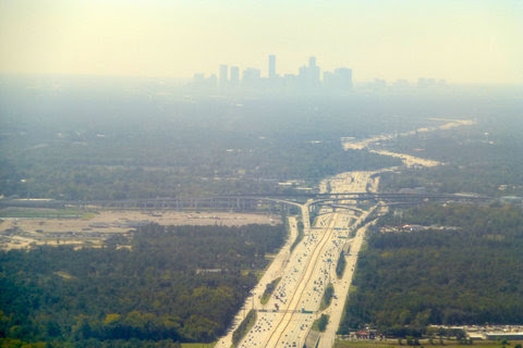 Houston cloaked in a haze of pollution on Oct. 23, 2013. Sources range from cars to oil and gas installations and refineries.