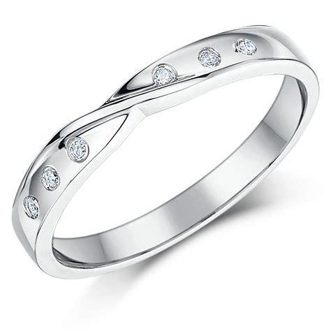 3mm 9ct White Gold Diamond Set Twist Wedding Ring Band