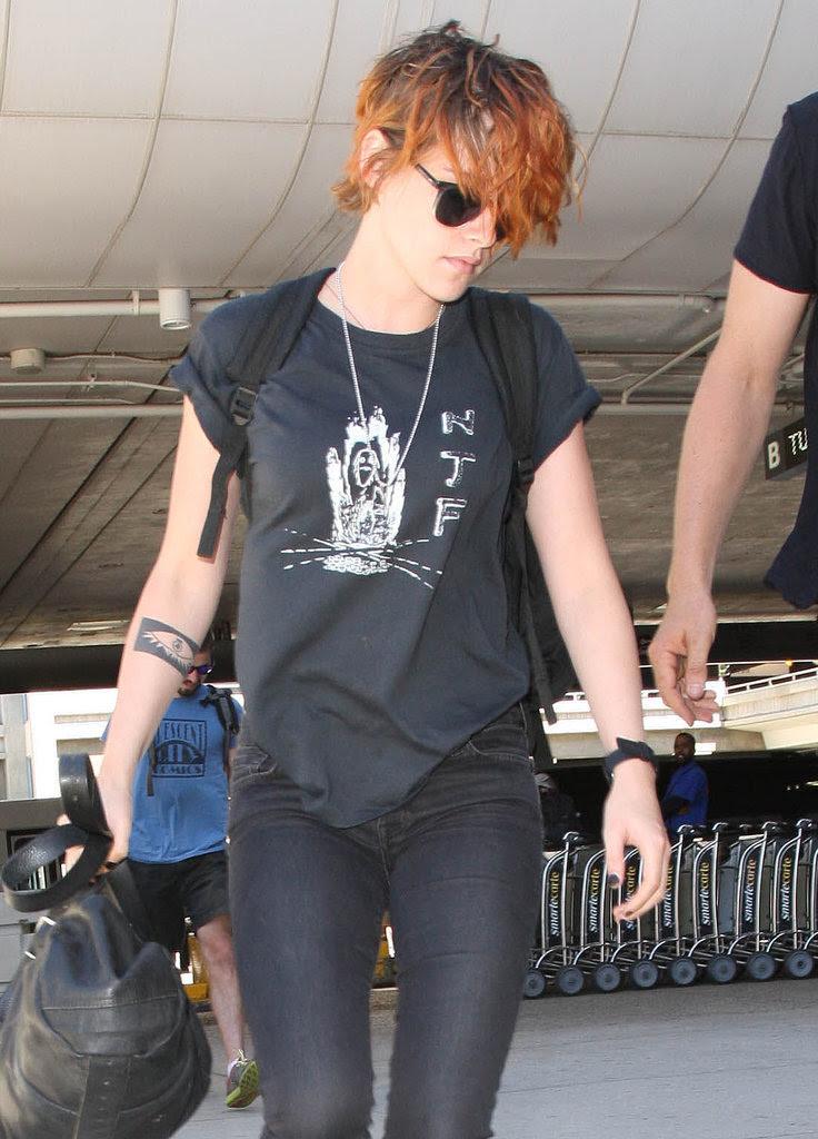 Kristen Stewart With Short Hair at LAX   July 2014