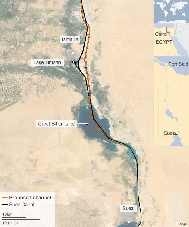 Map showing the proposed route of the second Suez Canal waterway