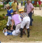 Joe Bravo attended to after being thrown from his mount on Trickita