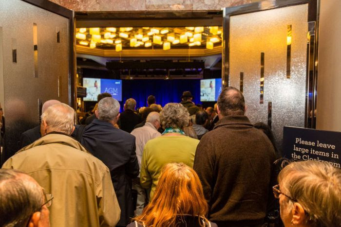 Shareholders overflowing out of AMP AGM in Melbourne, May 10 2018
