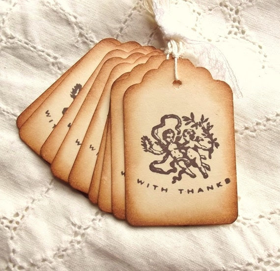Victorian Angel Thank You Tags - Vintage Inspired