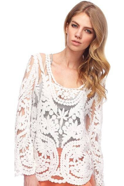 ROMWE Hollow-out Lace Crochet White Blouse pictures