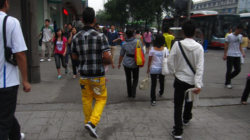 Yellow pants, near North Train Station, Chengdu