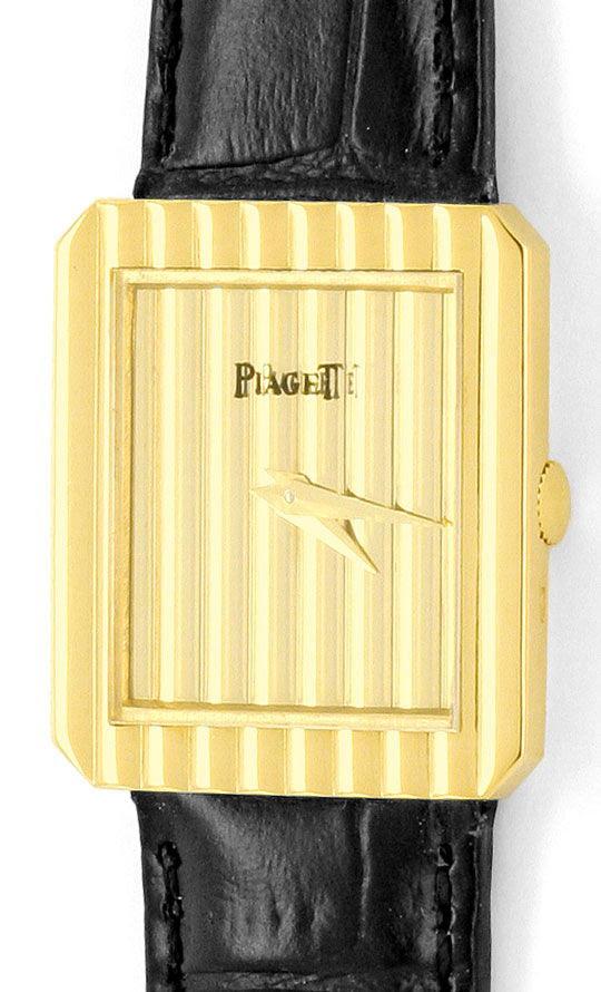 Foto 2, Piaget Polo Längsstreifen Damenarmbanduhr 18K Gelb-Gold, U2043