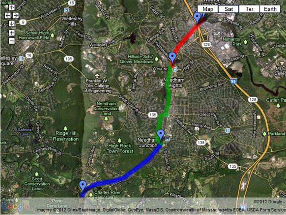 Google Map of Needham Rail Trail 2