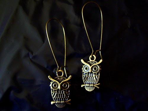 Handmade Antiqued Brass Owl Earrings