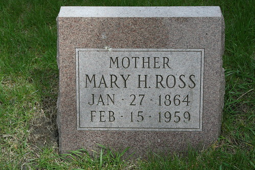 Tombstone of Mary Hay Stotler Ross