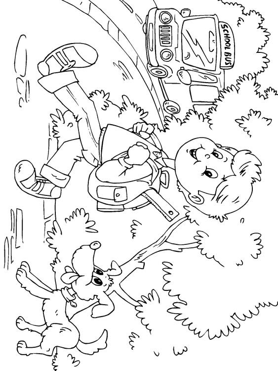 Dibujo Para Colorear Ir Al Colegio En Autobús Img 22691