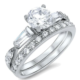 Brilliant & Baguette Cut Engagement Wedding Sterling