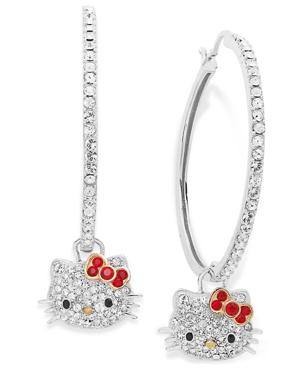 1a00bb0de Hello Kitty Sterling Silver Earrings Pave Crystal Face Hoop Earrings