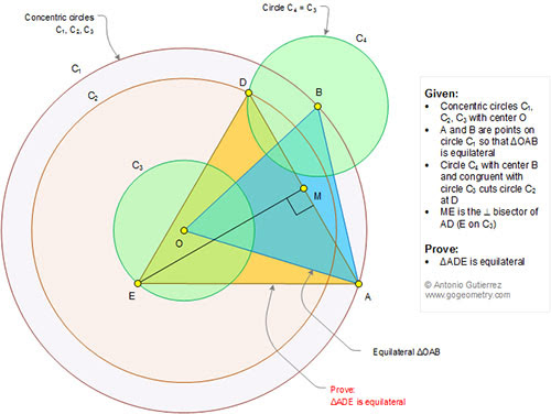 Geometry Problem 1348: Three Concentric Circles, Equilateral Triangle, Perpendicular Bisector, Congruence.