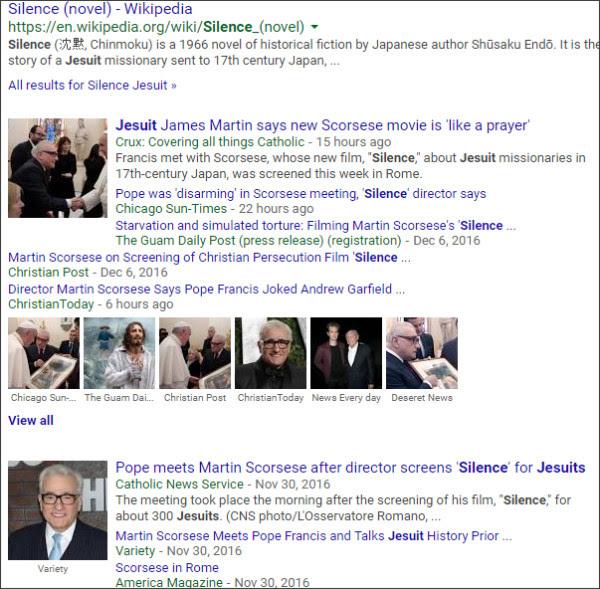 https://www.google.com/search?hl=en&gl=us&tbm=nws&authuser=0&q=Silence+Jesuit&oq=Silence+Jesuit&gs_l=news-cc.3..43j43i53.2100.7759.0.9057.14.7.0.7.2.0.154.949.0j7.7.0...0.0...1ac.zi475lwdHM8