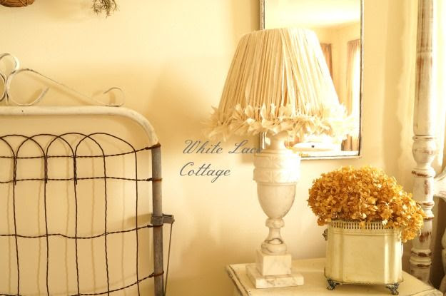 Rag lamp shade {for my craft sewing room lamp}.