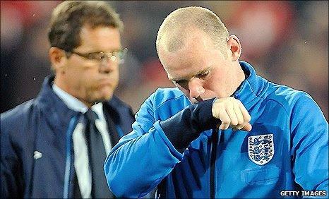 England manager Fabio Capello (left) and striker Wayne Rooney