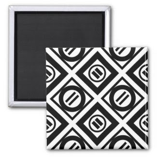 Black Equal Sign Geometric Pattern on White 2 Inch Square Magnet