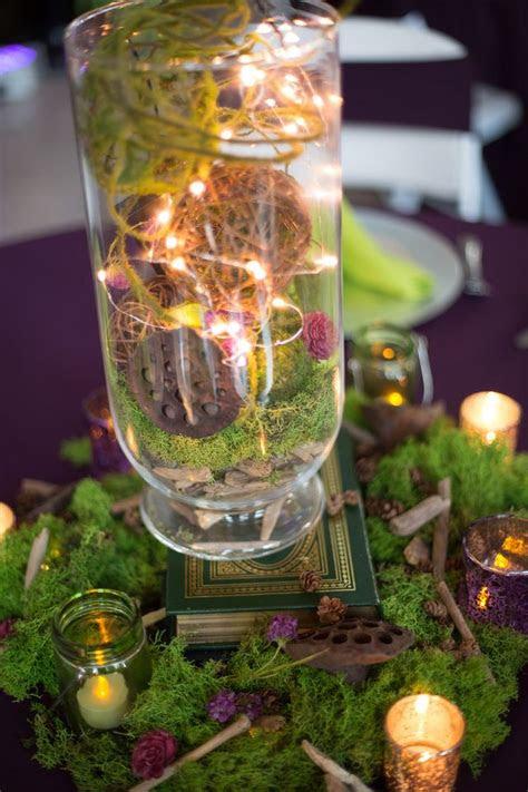 whimsical woodland centerpiece moss balls fairy lights