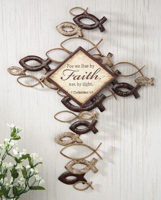 Christian Fish Ichthys Religious Wall Cross