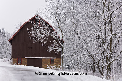 Barn with Tile Foundation in Winter Wonderland, Dane County, Wisconsin
