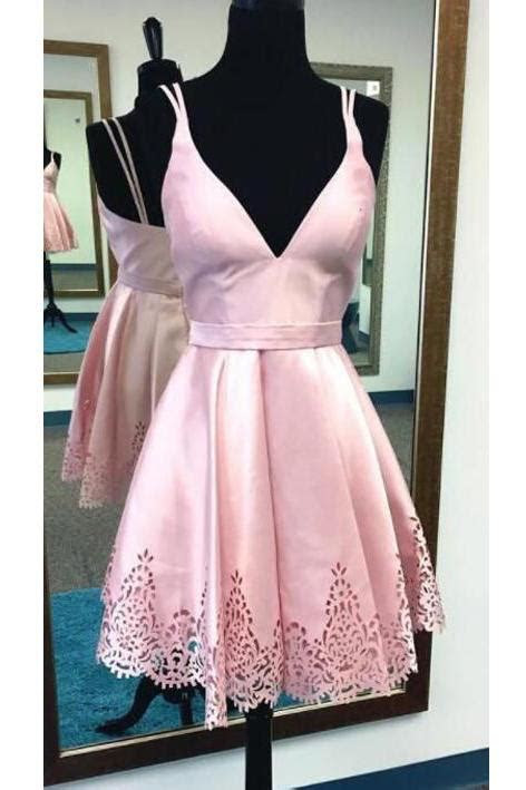 Spaghetti Straps Pink Homecoming Dress,Cute Dress,V neck