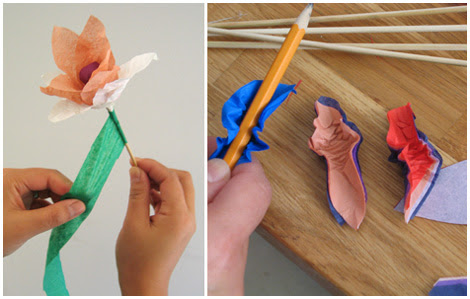 tissue paper flowers how to make. colours of tissue paper