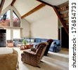 stock-photo-bright-big-living-room-with-vaulted-ceiling-and-beams-carpet- ...
