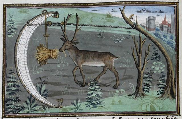 15th century illuminated manuscript miniature: Henri de Ferrières, Les Livres du roy Modus et de la royne Ratio 119