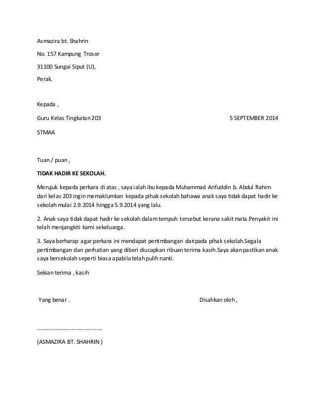 contoh surat rasmi tidak hadir ke sekolah kerana balik