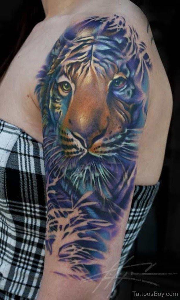 Blue Tiger Tattoo On Half Sleeve Tattoo Designs Tattoo Pictures