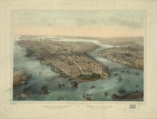 New York et Brooklyn--Vue prise au dessus de la batterie - dessiné par Simpson