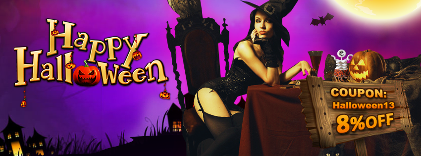 "Happy Halloween! 8% OFF with Coupon Code ""Halloween13"" for Amazing Halloween Costumes, Decorations, Masks, Wigs!"