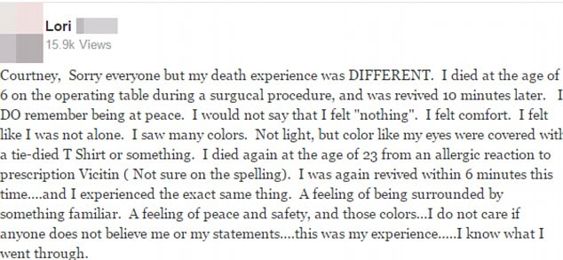 Lori's experience of dying