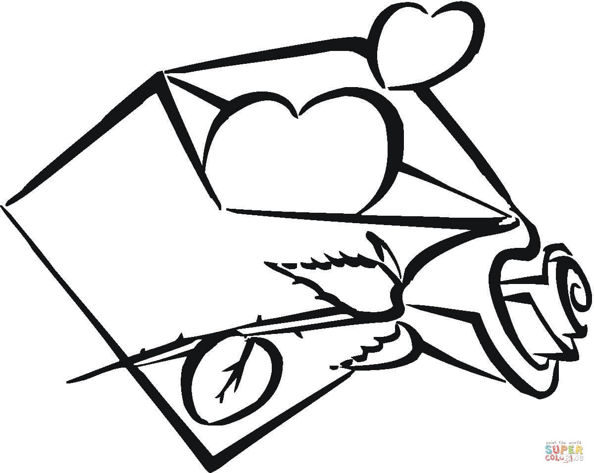 er sur la Coeur dans une enveloppe coloriages