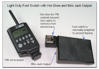 LT1019: Light Duty Foot Switch with Mini Jack Output and Hot Shoe (extended beyond edge of Foot Switch)