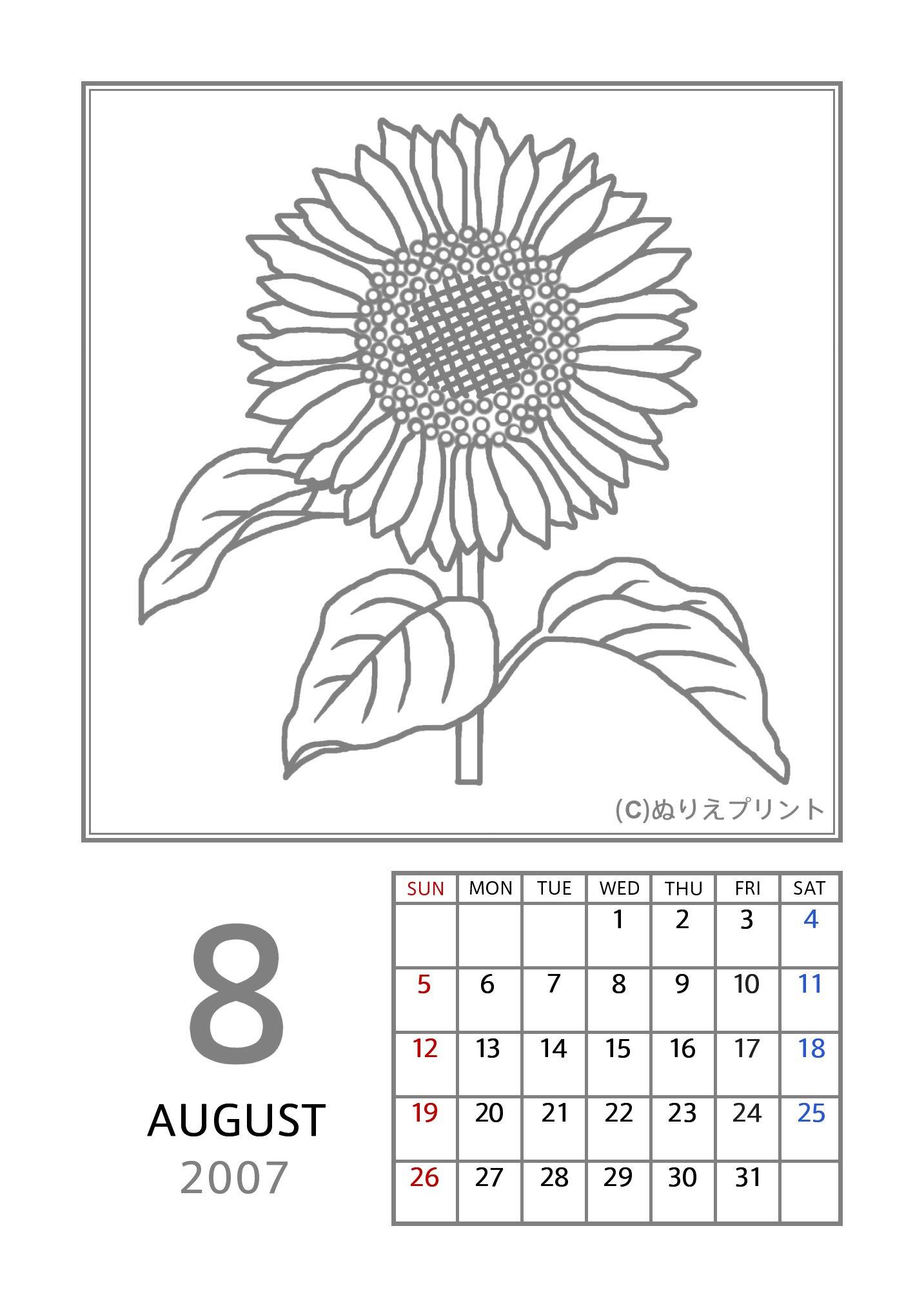 8月ヒマワリ向日葵グレー2007平成19年花のぬりえカレンダー無料