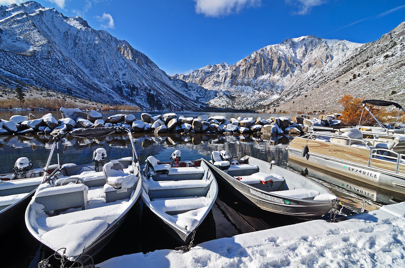 Boat dock covered in snow at Convict lake off the 395 heading up to Mammoth Lakes.